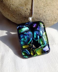 Colourful glass necklace fused dichroic glass by GeckoGlassDesign, $39.00
