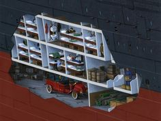 """Take a tour inside the """"floating palace"""" with lavishly illustrated cutaways by artist Ken Marschall."""