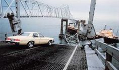 The Sunshine Skyway Bridge Disaster. May 9, 1980. Florida USA. The original bridge was destroyed when the freighter MV Summit Venture collides with a pier (support column) during a blinding thunderstorm. The collision causes 1,200 feet of bridge, six cars, a truck, and a greyhound bus to plummet 150 feet into Tampa Bay, killing 35 people.