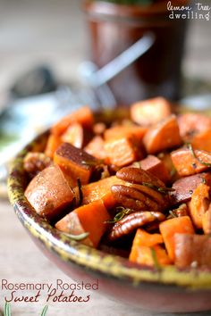 Rosemary Roasted Sweet Potatoes with pecans and a hint of maple syrup! | Lemon Tree Dwelling