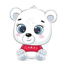 Baby Polar Bears, Cute Polar Bear, Cartoons Love, Baby Cartoon, Christmas Design, Easy Drawings, Giraffe, Hello Kitty, Cute Animals