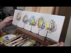 Acrylic speed painting making a colorful set of trees Using paints bought at Micheals because I wasn't sure if they would stick to the shelving board. Speed Paint, Acrylic Art, Love Art, Surrealism, Original Art, Projects To Try, Videos, Trees, Abstract