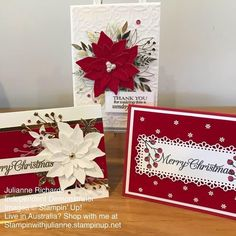 Stamped Christmas Cards, Homemade Christmas Cards, Christmas Cards To Make, Xmas Cards, Homemade Cards, Holiday Cards, Poinsettia Cards, Snowflake Cards, Christmas Poinsettia