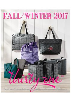 2017 FALL/WINTER THIRTY-ONE. Quick Cinch Thermal in Geo Stripe, Well Suited Garment Tote in Chevron Squares, Studio Tote in Peacock Pebble, Savvy Sleeve in City Charcoal Pebble, Tote-N-Chill Trio in Chevron Squares & Double Take Tote in Black Quilt & Moosin Around.