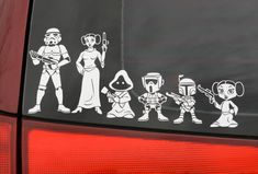 Star Wars Family Car Decals. Although I am unsure about Princess Leia and a Stormtrooper... Unless it's Han in disguise...