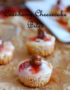 I just love these sweet little treats for Thanksgiving or Christmas.  The sweet cranberry swirl makes these cheesecakes extra special!
