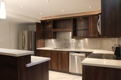 Toronto and Thornhill Custom Modern Kitchen Design Modern Kitchen Renovation, Brown Kitchens, New Kitchen Designs, Craftsman Kitchen, Diy Home, Contemporary Kitchen Design, Kitchen Cabinet Design, Kitchen Cabinets, Dark Cabinets