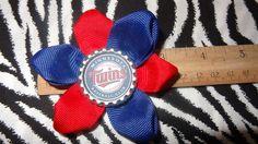 Sporty Bottlecap Flower MLB Baseball Minnesota Twins Hair Bow ~ Free Shipping Price: $4