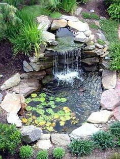 Diy garden fountain : diy easy tips to build a better backyard garden pond Small Backyard Ponds, Backyard Water Feature, Backyard Ideas, Backyard Waterfalls, Patio Ideas, Diy Patio, Pergola Ideas, Outdoor Ideas, Backyard Designs