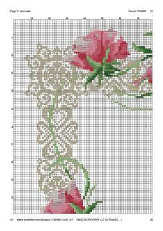 Cross Stitch Love, Cross Stitch Flowers, Cross Stitch Embroidery, Cross Stitch Patterns, Border Design, Hobbies And Crafts, Projects To Try, Sewing, Pink Tablecloth