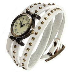 Retro Bronze Leather Rivet Stud Quartz Dial Women's Wrist Watch White - http://all-shoes-online.com/sanwood/retro-bronze-leather-rivet-stud-quartz-dial-wrist
