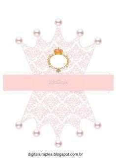 Pink and Gold Crown: Free Printable Crown Box. Princess Theme, Princess Birthday, Girl Birthday, Crown Printable, Diy And Crafts, Paper Crafts, Party In A Box, Baby Party, Paper Dolls