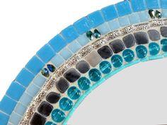 Mosaic Mirror Blue Wall Mirror Jeweled Wall by GreenStreetMosaics