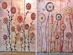 Bellaa 3-Panel Double Sided Painting Canvas Room Divider Screen, Abstract Paintings