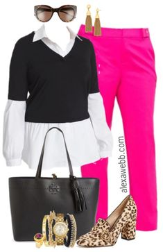 Plus Size Pink Trousers Outfit - Plus Size Work Outfit Idea - Plus Size Fashion for Women - alexawebb.com #alexawebb