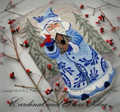 Blue Christmas Santa Claus Cardinal Bird Birdhouse Punch by Michelle Palmer