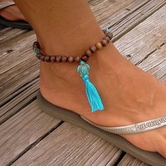 Turtles and  tassel anklet  SUMMER Ocean sexy surfer by RumCay, $16.95