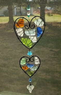 Sea Glass Suncatcher with Triple Heart Design and by oceansbounty, $25.00