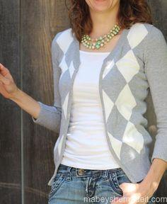 Sweater to Cardigan Refashion   Mabey She Made It #refashion #cardigan