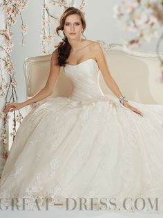 Ball Gown Cathedral Train Strapless Lace Wedding Dresses
