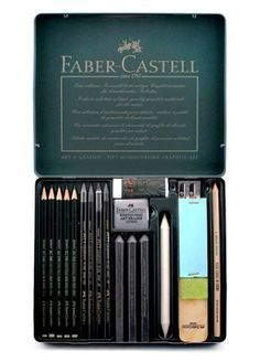 Faber-Castell Pitt Monochrome Graphite Set – Cheap Joe's Art Stuff – Pin's Page Faber Castell Pitt, Graf Von Faber Castell, Painting Tools, Drawing Tools, Sketching, Art Supplies Storage, Cool School Supplies, Monochrom, Art Drawings Sketches