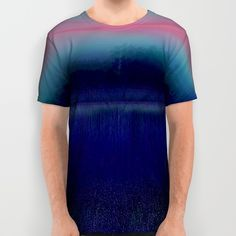 Lake View On A Foggy Morning In Blue, and Pink 2 All Over Print Shirt
