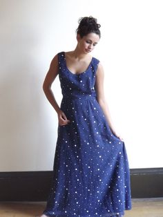 blue polka dot dress / sleeveless dress / polka dot dress / casual long dresses / 50s dress - $62