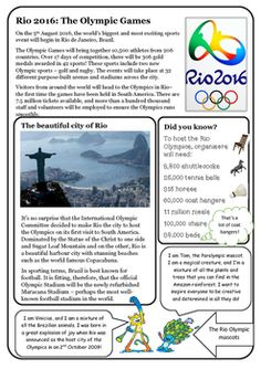 Find out all about the Olympic Games with this set of four reading comprehensions with differentiated questions and answers to suit all… Olympic Idea, Rio Olympic Games, Rio Olympics 2016, Summer Olympics, Summer School Themes, Beginning Of School, Reading Comprehension, Deduction, Teaching Ideas