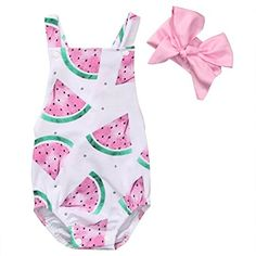 Baby Girls Watermelons Print Backless Ruffle Bodysuit with Headband (90(12-18M), Pink)