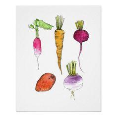Root Vegetables Print Watercolor Ink Kitchen Art