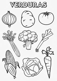 Vegetable Coloring Pages, Food Coloring Pages, Coloring Pages For Kids, Art Drawings For Kids, Colorful Drawings, Drawing For Kids, Vegetable Cartoon, Kindergarten Coloring Pages, Restaurant Themes