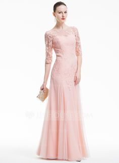 [US$ 183.49] A-Line/Princess Scoop Neck Floor-Length Tulle Evening Dress With Appliques Lace