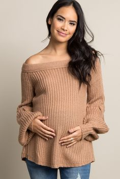 001b175b0a39ff Taupe Solid Knit Off Shoulder Maternity Sweater