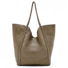 Women's Olive Faux Leather Slouchy Shoulder W/ Chain Detail | Rachelle by Sole Society $64.95