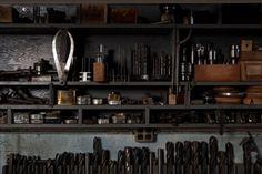 dark shelves