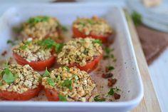 Matzo and Herb Stuffed Tomatoes for Passover via littleferrarokitchen.com
