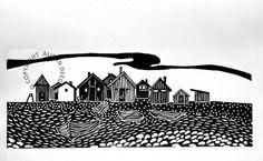Original lino print Fishing huts on Faro by adeegan on Etsy, £27.50