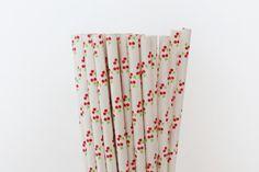 Cherry Paper Straws-Mason Jar Straws-Wedding by CreativeJuiceCafe