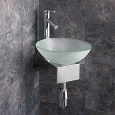 Space Saving Corner Mounted Monza Frosted 31cm Dia Glass Sink With Wall  Mount And Tap