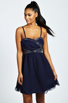 Boohoo Amelia Crossover Beaded Embellished Prom Dress on shopstyle.com.au