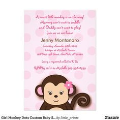 Zazzle Baby Shower Invitations Girl Best Of Girl Monkey Dots Custom Baby Shower Invitations Monkey Invitations, Custom Baby Shower Invitations, Baby Shower Invitation Templates, Baby Shower Invites For Girl, Baby Shower Themes, Birthday Invitations, Shower Ideas, Monkey Girl, Monkey Baby