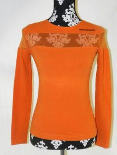 """Vintage 90s Grunge Orange HARLEY DAVIDSON Shirt """"I surprisingly like this shirt, but it would never match my olive complexion,"""" -Amy"""
