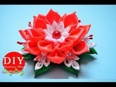 DIY. Flower kanzashi scrunchy. New petals. Kanzashi flower tutorial.