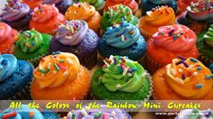 All the Colors in the Rainbow Mini Cupcakes