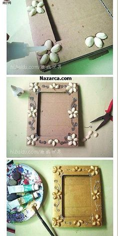 DIY ~ Pistachios Shells Picture Frame More (Diy Photo Frames) Frame Crafts, Fun Crafts, Diy And Crafts, Crafts For Kids, Art N Craft, Diy Art, Cadre Photo Diy, Diy Photo, Pista Shell Crafts