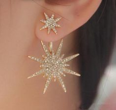 snowflake star double sided ear jacket earring l gold or silver l www.goldierock.com