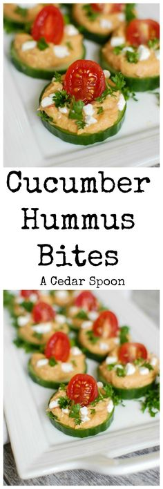 Cucumber Hummus Bites make the perfect finger food and appetizer for your next part or get together. Crisp cucumbers slices are topped with roasted red pepper hummus, tomatoes, feta cheese and fresh p