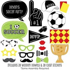 GOAAAL! - Soccer - 20 Piece Photo Booth Props Kit | BigDotOfHappiness.com