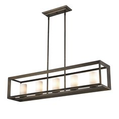 Golden Lighting's Smyth 5 Light Linear Pendant (Gunmetal Bronze & Opal glass) #2073-LP GMT-OP