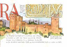 Libro de Granada ilustrado en acuarelas, donde aparecen los principales lugares y tradiciones de la ciudad. Una guía - recuerdo inolvidable para el viajero.